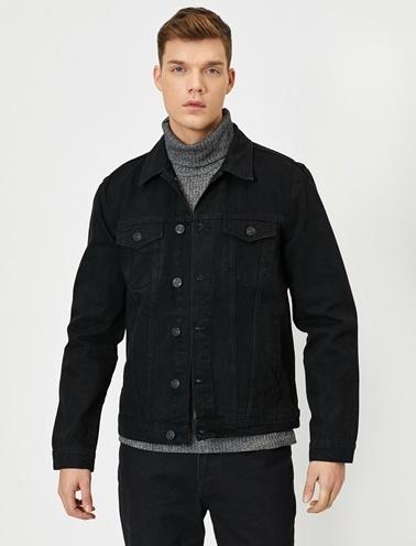 Koton Cep Detayli Jean Ceket Siyah